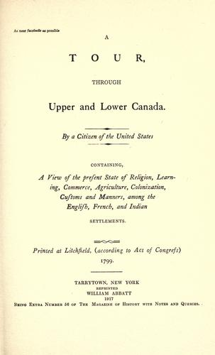 Download A tour through Upper and Lower Canada.