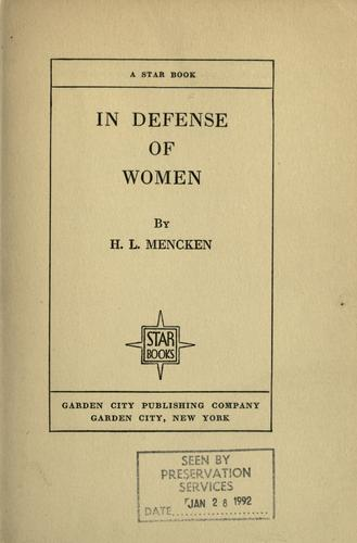 Download In defense of women.