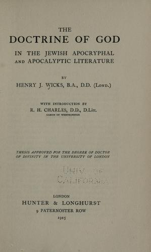 Download The doctrine of God in the Jewish apocryphal and apocalyptic literature