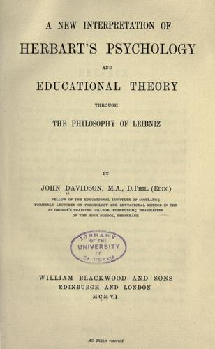Download A new interpretation of Herbart's psychology and educational theory through the philosophy of Leibnis