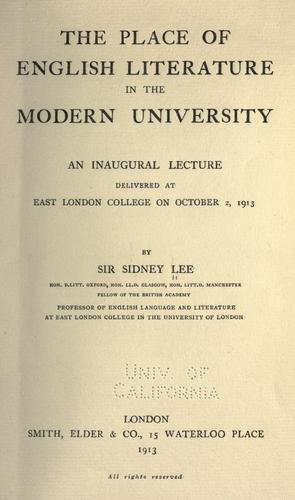 Download The place of English literature in the modern university