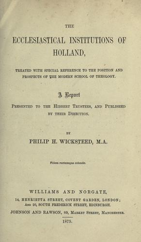 Download The ecclesiastical institutions of Holland.