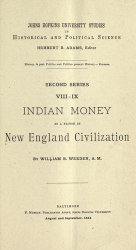Download Indian money as a factor in New England civilization