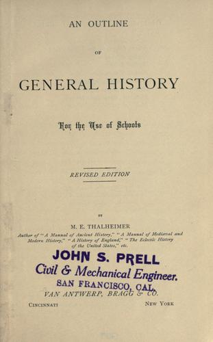 Download An outline of general history