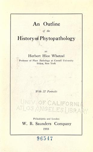 An outline of the history of phytopathology