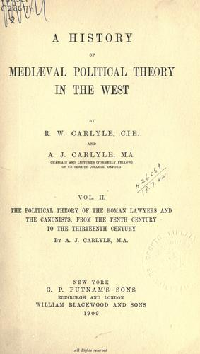 A history of mediaval political theory in the West.