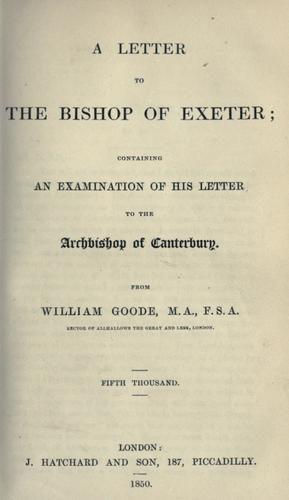 Download A letter to the Bishop of Exeter
