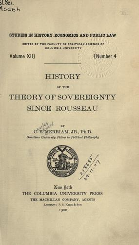 History of the theory of sovereignty since Rousseau.