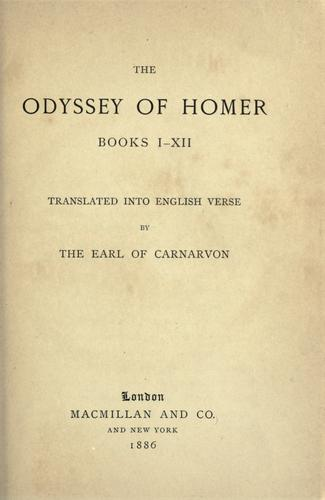 The Odyssey of Homer, books I-XII