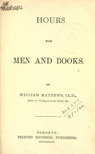 Hours with men and books