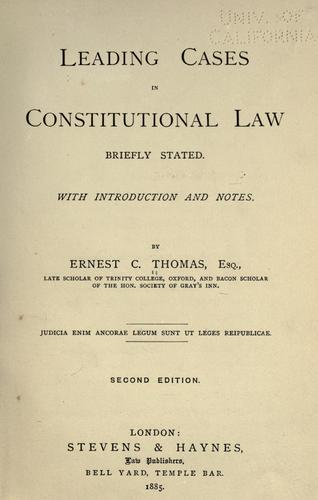 Download Leading cases in constitutional law briefly stated