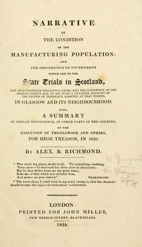 Narrative of the condition of the manufacturing population