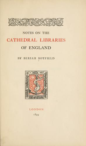 Download Notes on the cathedral libraries of England