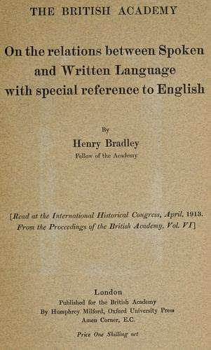 On the relations between spoken and written language, with special reference to English