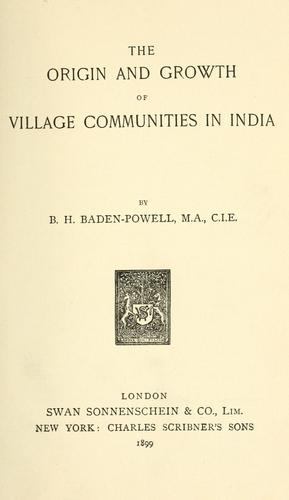 Download The origin and growth of village communities in India