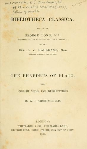 The Phaedrus of Plato.