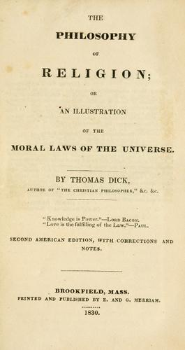 Download The philosophy of religion, or, An illustration of the moral laws of the universe