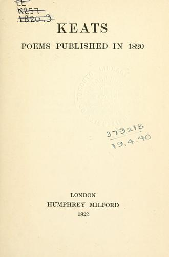 Poems published in 1820.