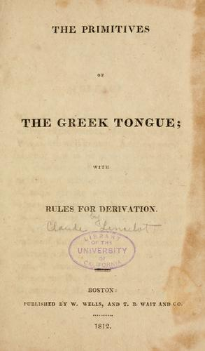 Download The primitives of the Greek tongue