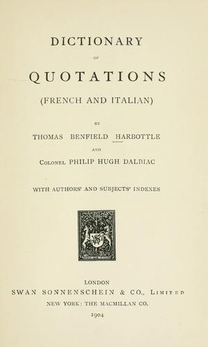 Download Dictionary of quotations (French and Italian)