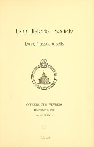 Download The register of the Lynn historical society, Lynn, Massachusetts.