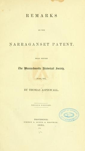 Download Remarks on the Narraganset patent.