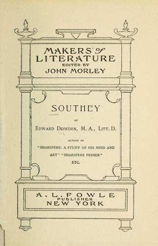 Southey by Dowden, Edward
