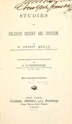 Studies of religious history and criticism