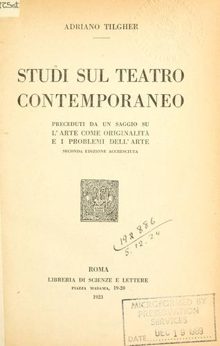 Download Studi sul teatro contemporaneo