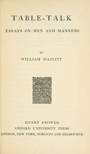 Table talk by Hazlitt, William