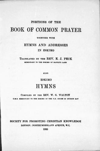 Portions of the Book of Common Prayer together with hymns and addresses in Eskimo