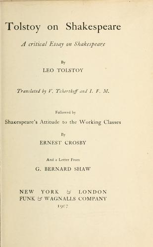 Download Tolstoy on Shakespeare