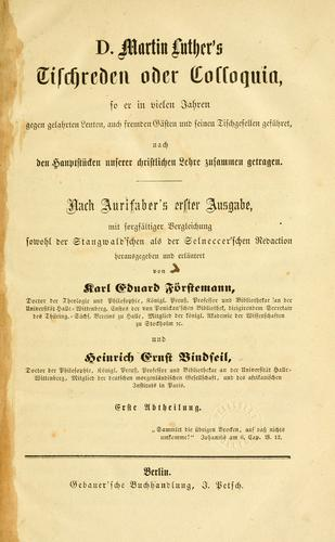 Download D. Martin Luther's Tischreden oder Colloquia