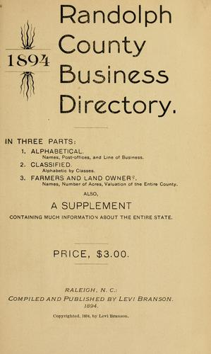 Randolph County business directory, 1894 by L. Branson