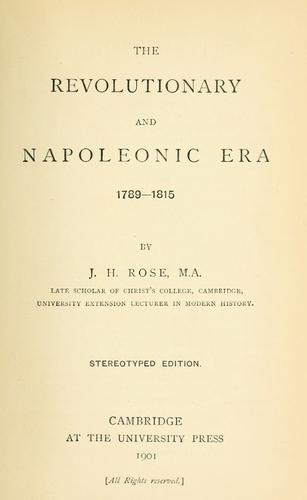 Download The revolutionary and Napoleonic era, 1789-1815.
