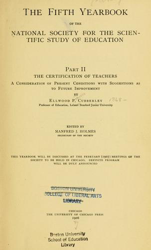 The certification of teachers