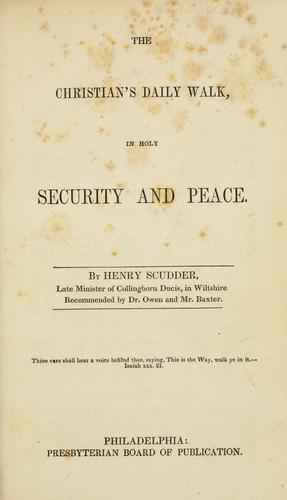 The Christian's daily walk, in holy security and peace