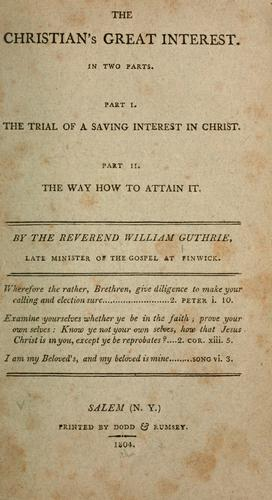 The christian's great interest …