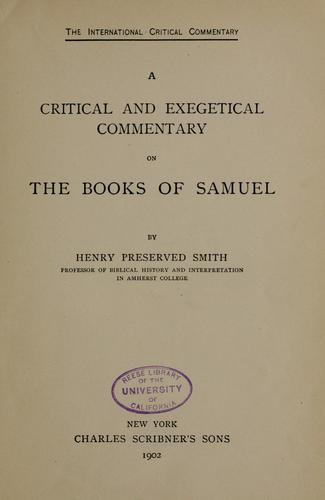 Download A critical and exegetical commentary on the books of Samuel