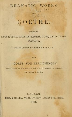 Download Dramatic works of Goethe