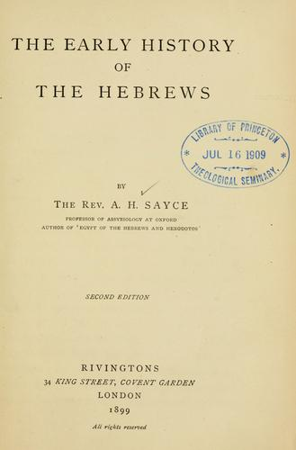 Download The early history of the Hebrews …