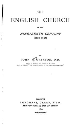 The English church in the nineteenth century (1800-1833)