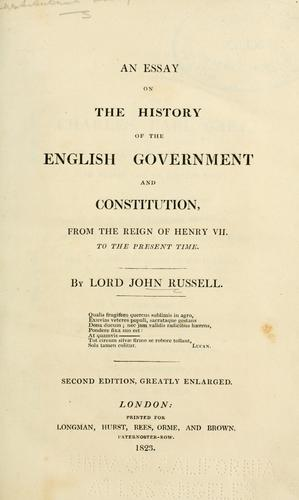 Download An essay on the history of the English government and constitution
