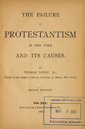 Download The failure of Protestantism in New York and its causes.