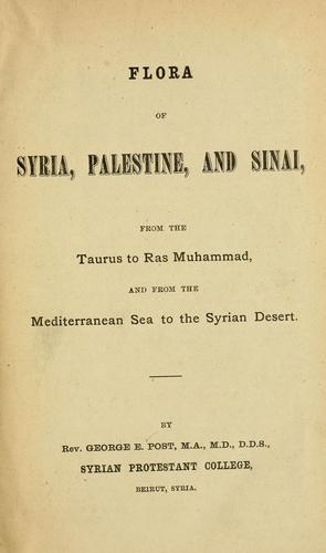 Download Flora of Syria, Palestine, and Sinai