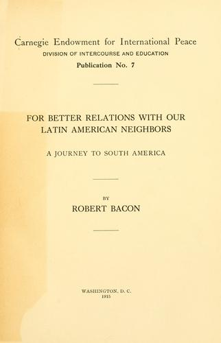 Download For better relations with our Latin American neighbors