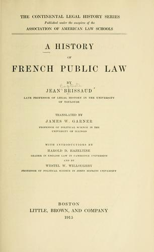 Download A history of French public law