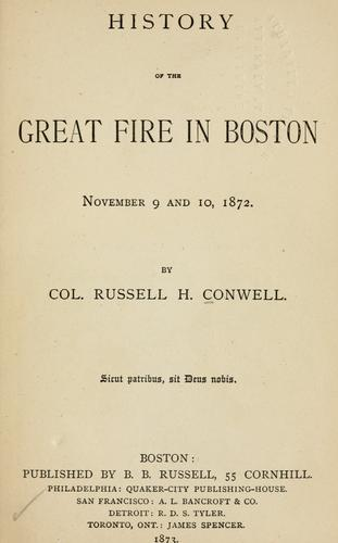 Download History of the great fire in Boston, November 9 and 10, 1872.
