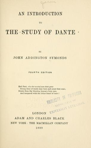 An  introduction to the study of Dante