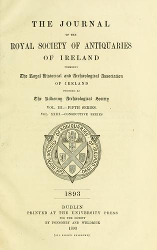 Download Journal of the Royal Society of Antiquaries of Ireland.